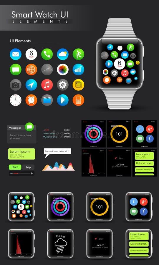 Elementos espertos elegantes do relógio UI ilustração stock