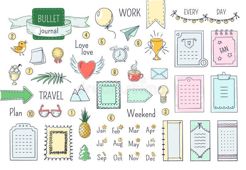 Elementos exhaustos de la mano del diario Balas del garabato, línea elementos del diario del calendario del horario del cuaderno  ilustración del vector