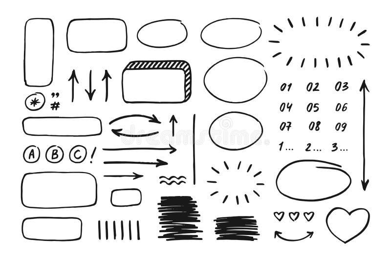 Elementos exhaustos del garabato de la mano para los planificadores, las banderas, el infographics, el etc ilustración del vector