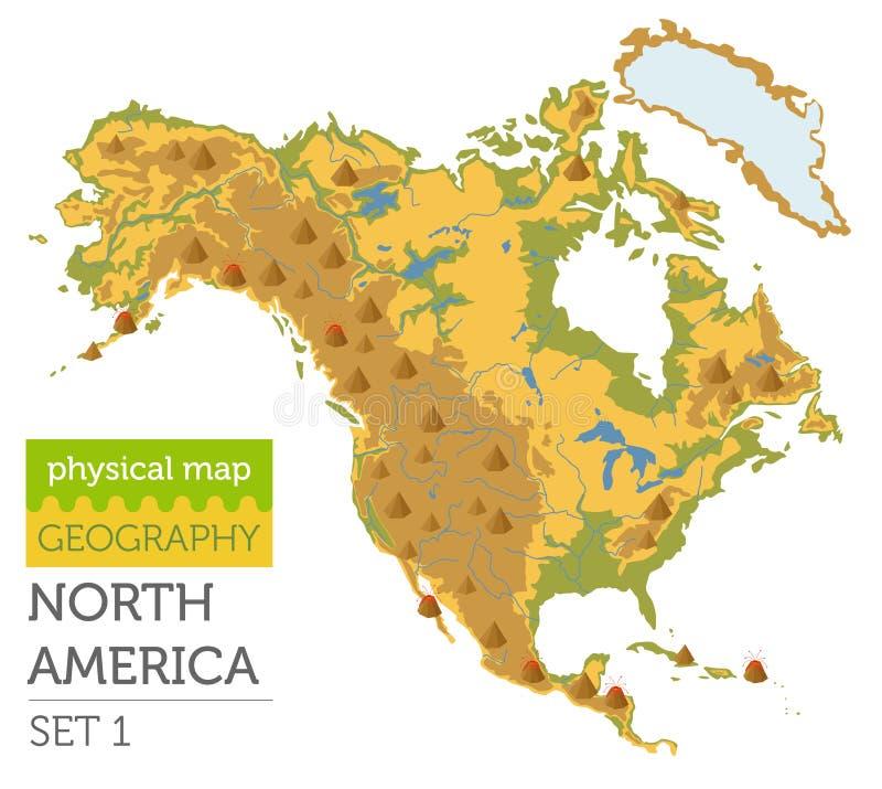 Elementos físicos del mapa de Norteamérica Incorpore su propia geografía ilustración del vector