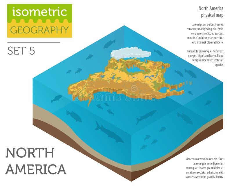 Elementos físicos isométricos del mapa de 3d Norteamérica Construya sus los propio ilustración del vector