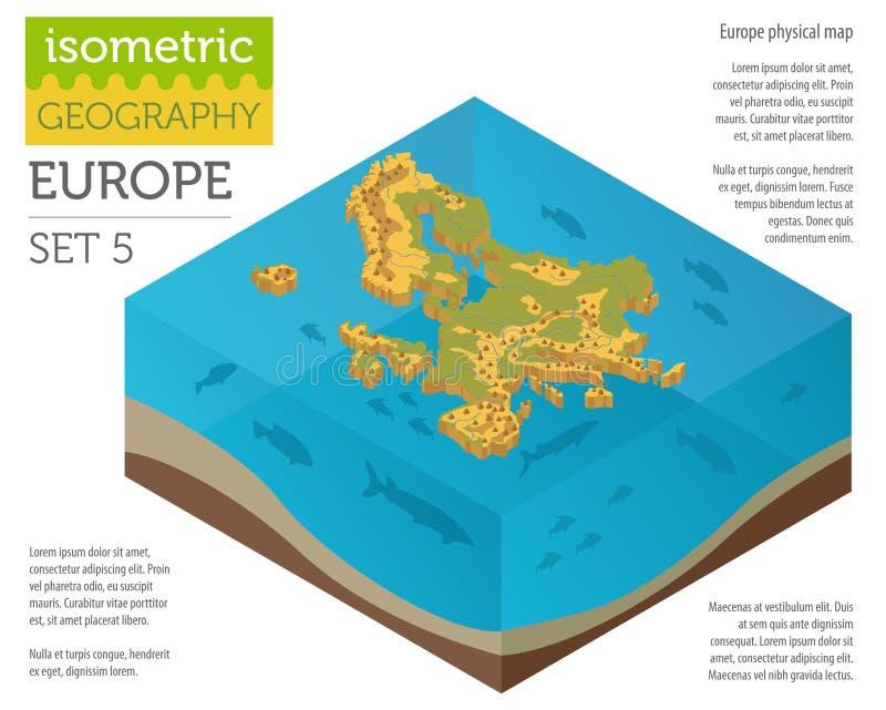 Elementos físicos isométricos do construtor do mapa de 3d Europa no wat ilustração royalty free