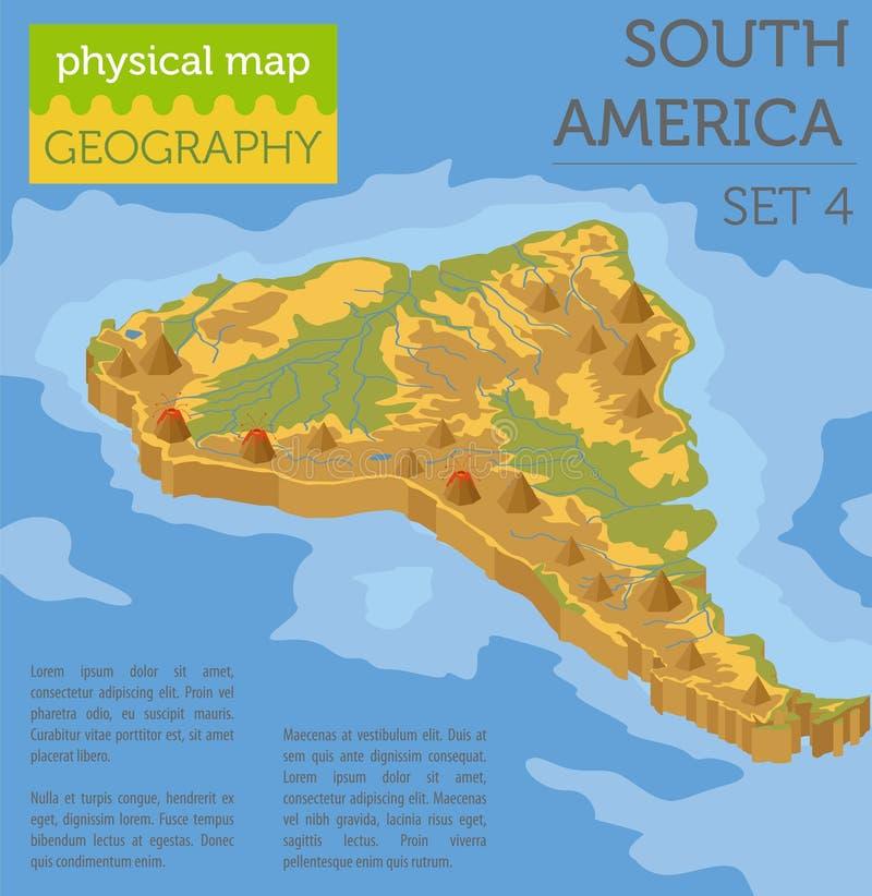 Elementos físicos isométricos do mapa de 3d Ámérica do Sul Construa seus próprios ilustração do vetor