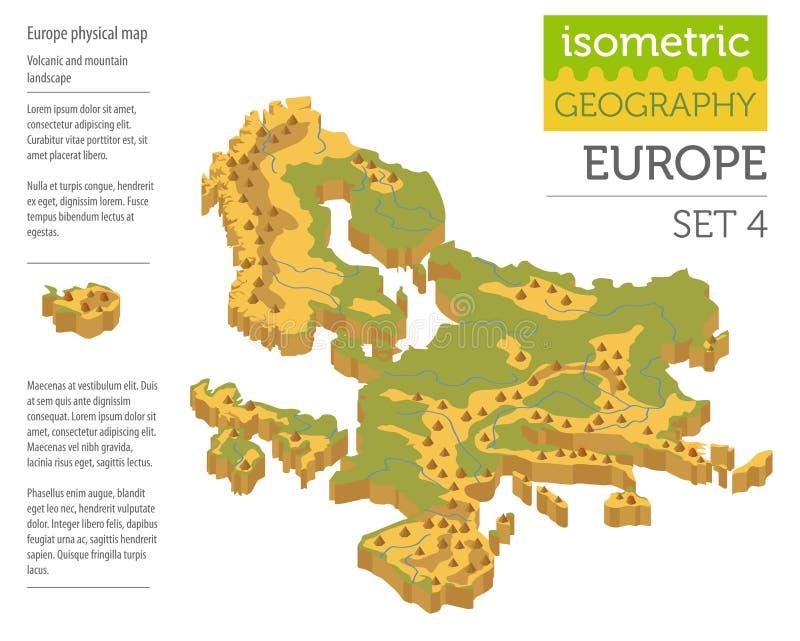 Elementos físicos isométricos o do construtor do mapa de 3d Europa ilustração do vetor