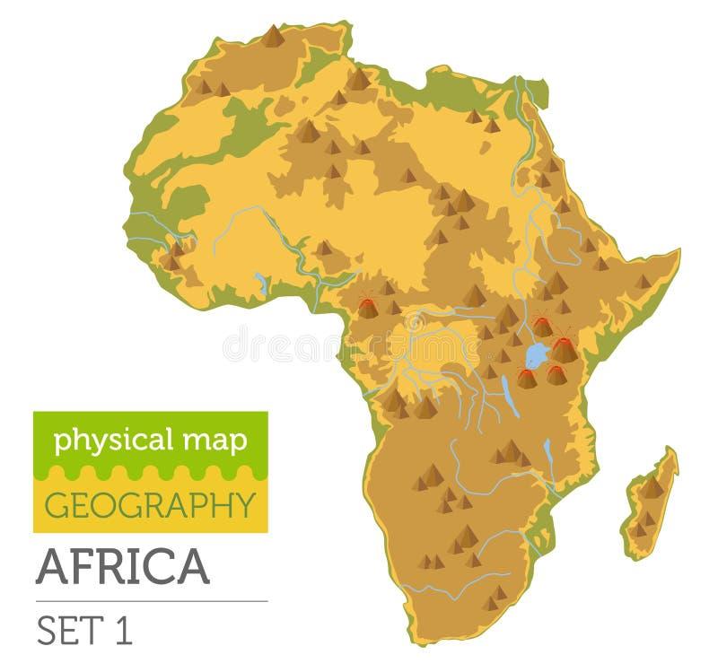 Elementos físicos planos del constructor del mapa de África aislados en blanco stock de ilustración