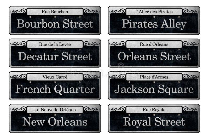 Elementos famosos do álbum de recortes de Digitas dos sinais de rua de Nova Orleães ilustração do vetor
