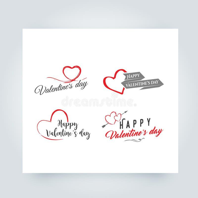 Elementos felizes do projeto do vetor do dia de Valentim Grupo de elementos, de símbolos do coração, de crachás, de etiquetas e d ilustração do vetor