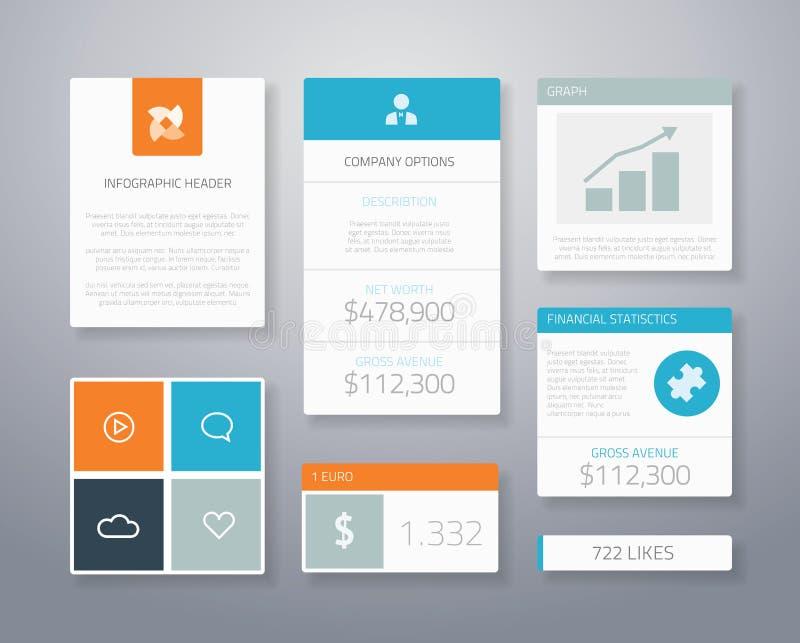 Elementos financieros planos VE del ui del negocio de Infographic ilustración del vector