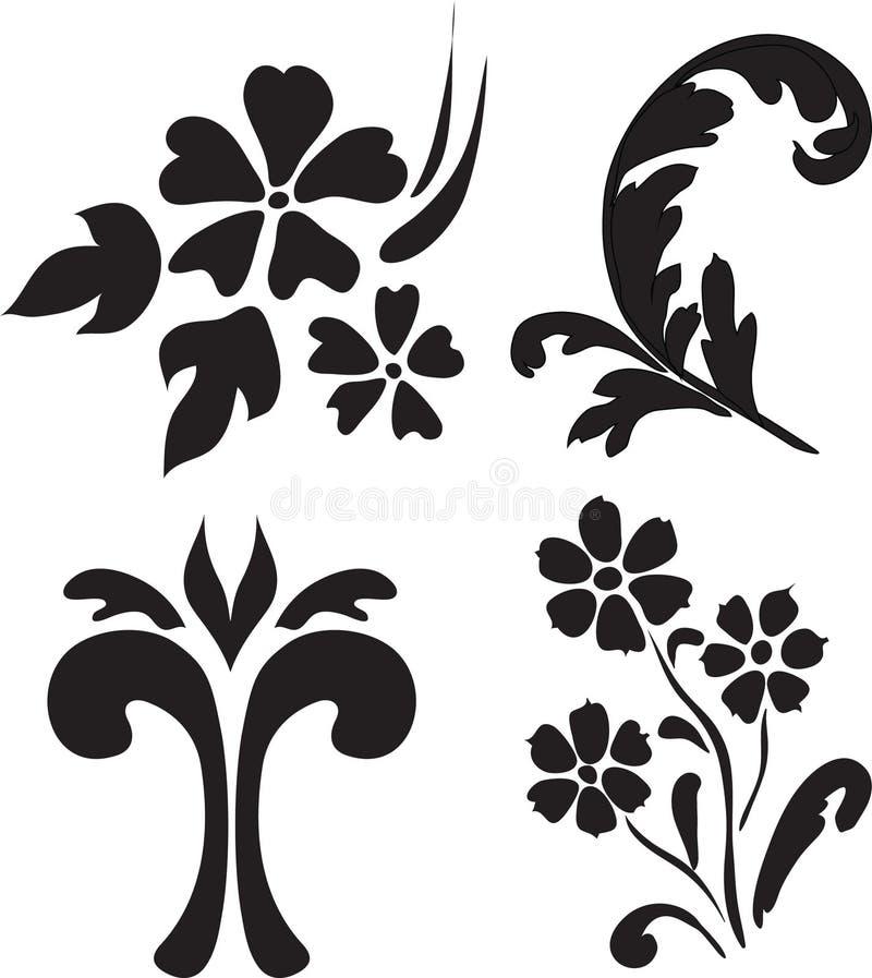 Elementos florais abstratos ilustração stock