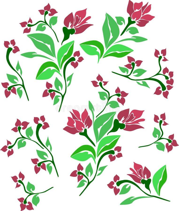 Elementos florais abstratos ilustração do vetor