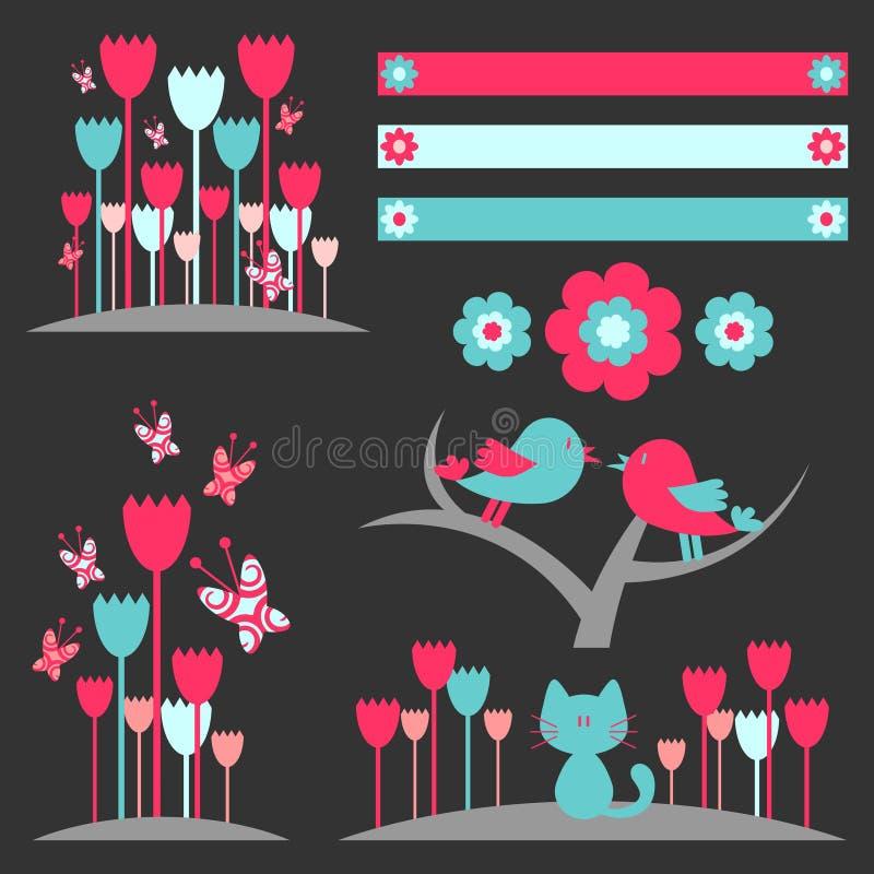 Elementos florais bonitos ilustração royalty free
