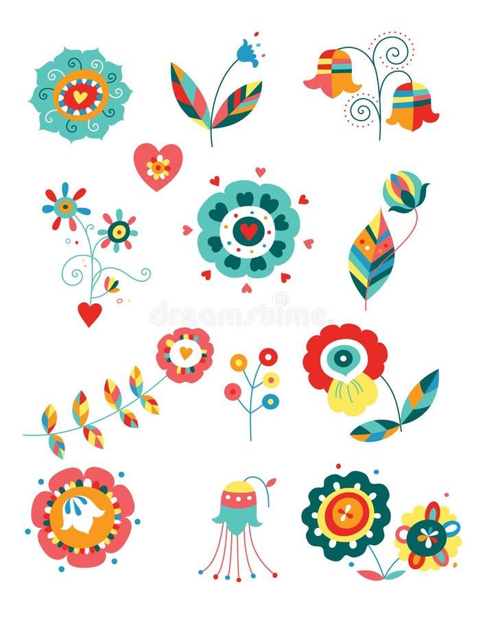 Elementos florais coloridos ilustração do vetor