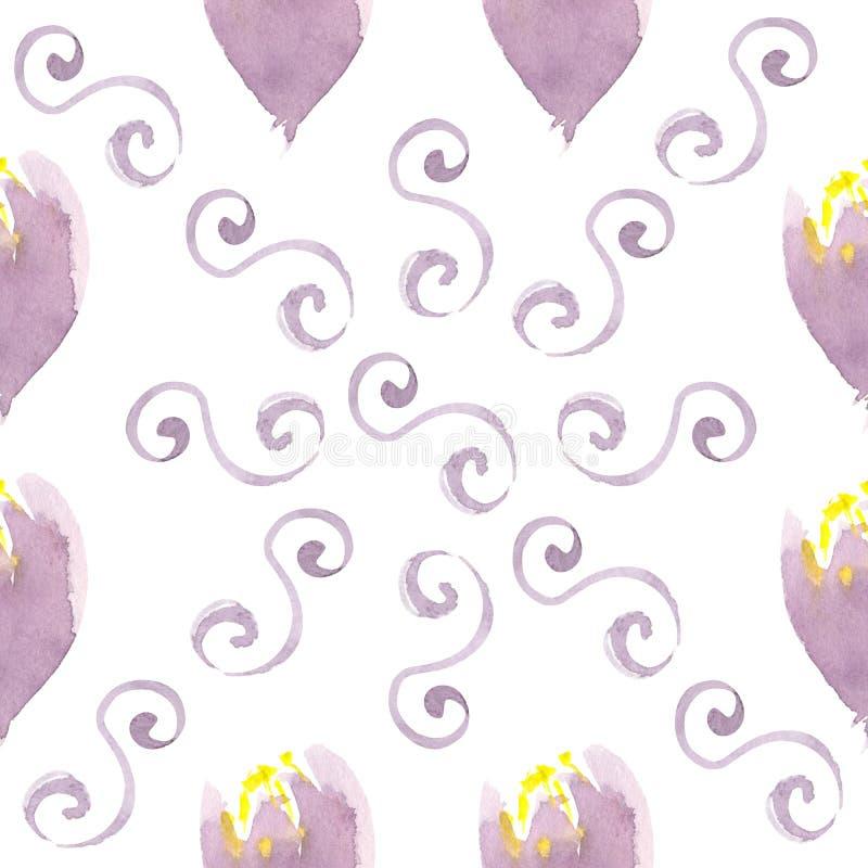 Elementos florais da aquarela violeta de Abstarct no teste padrão sem emenda ilustração do vetor