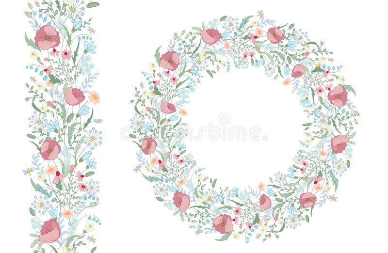 Elementos florais da mola com grupos bonitos da papoila e de flores selvagens ilustração do vetor