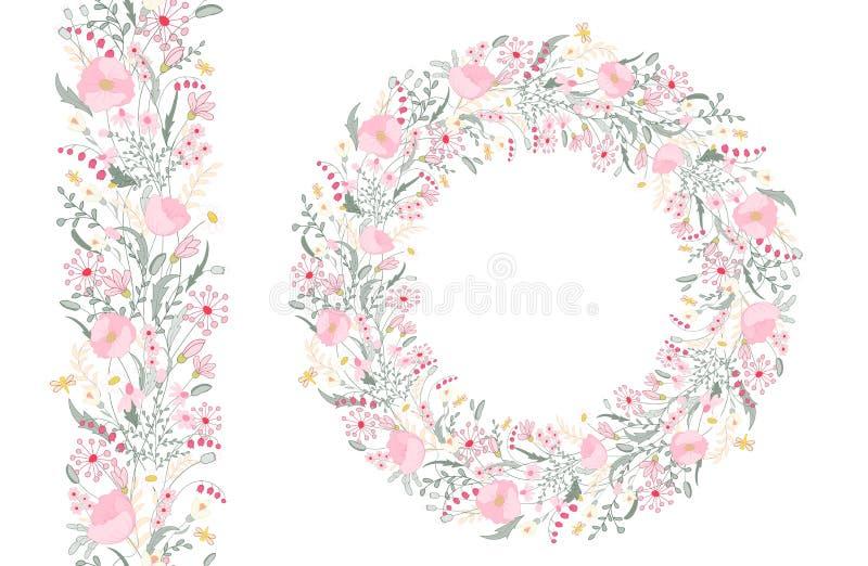 Elementos florais da mola com grupos bonitos da papoila e de flores selvagens Escova infinita do teste padrão Para o projeto româ ilustração do vetor