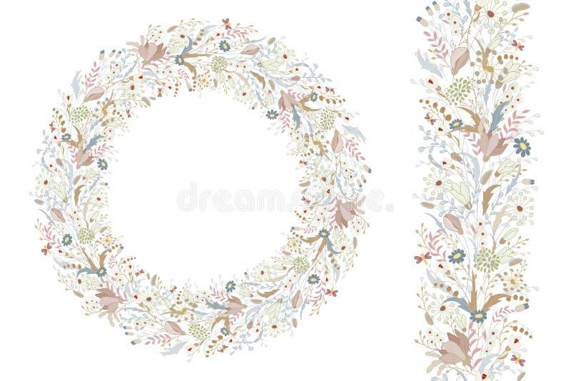 Elementos florais da mola com grupos bonitos da papoila e de flores selvagens Escova infinita do teste padrão Para o projeto româ ilustração royalty free