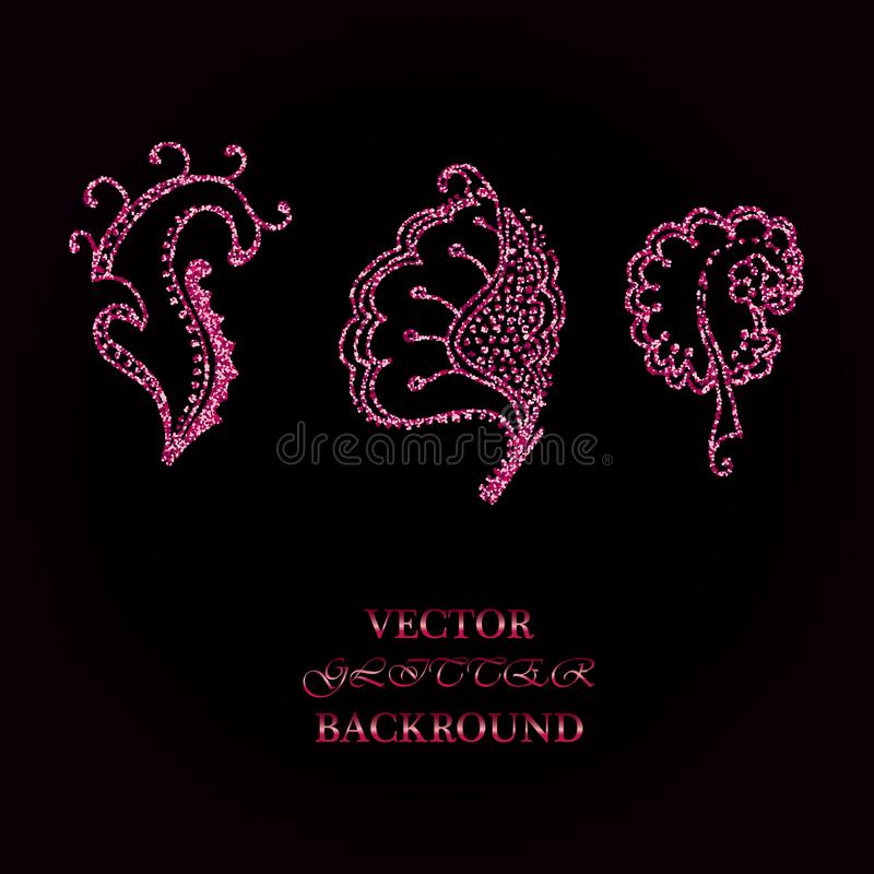Elementos florais de Rose Glitter Bom para o convite do casamento, o fundo, o folheto ou o projeto de papel do envolvimento ilustração royalty free