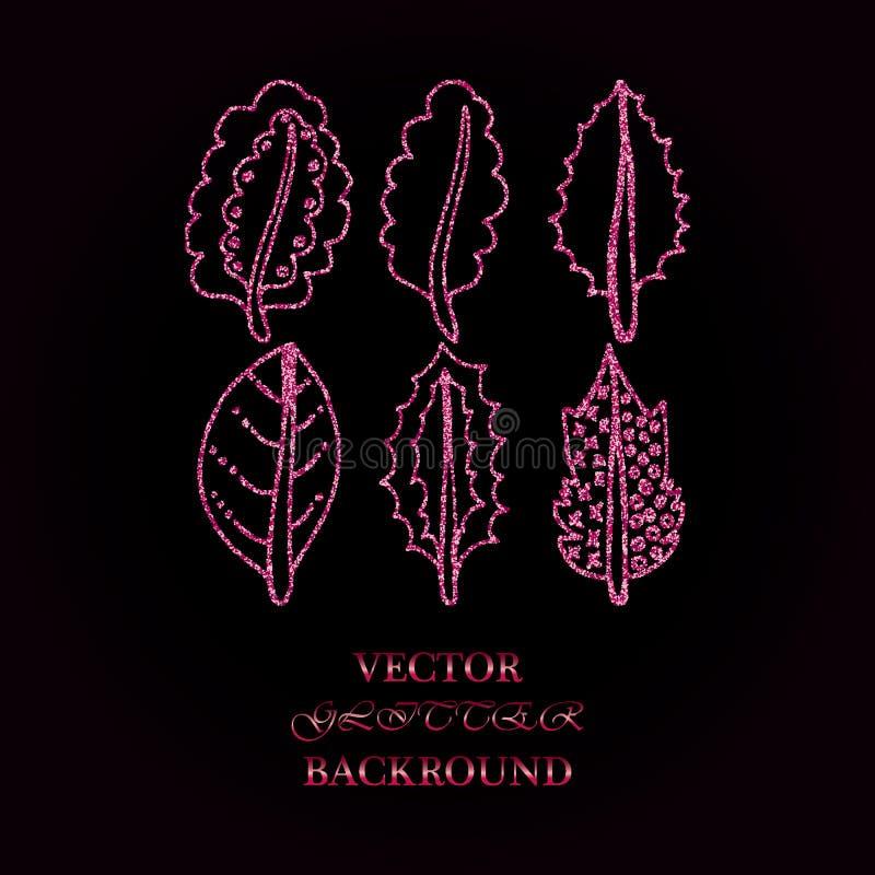 Elementos florais de Rose Glitter Bom para o convite do casamento, o fundo, o folheto ou o projeto de papel do envolvimento ilustração do vetor