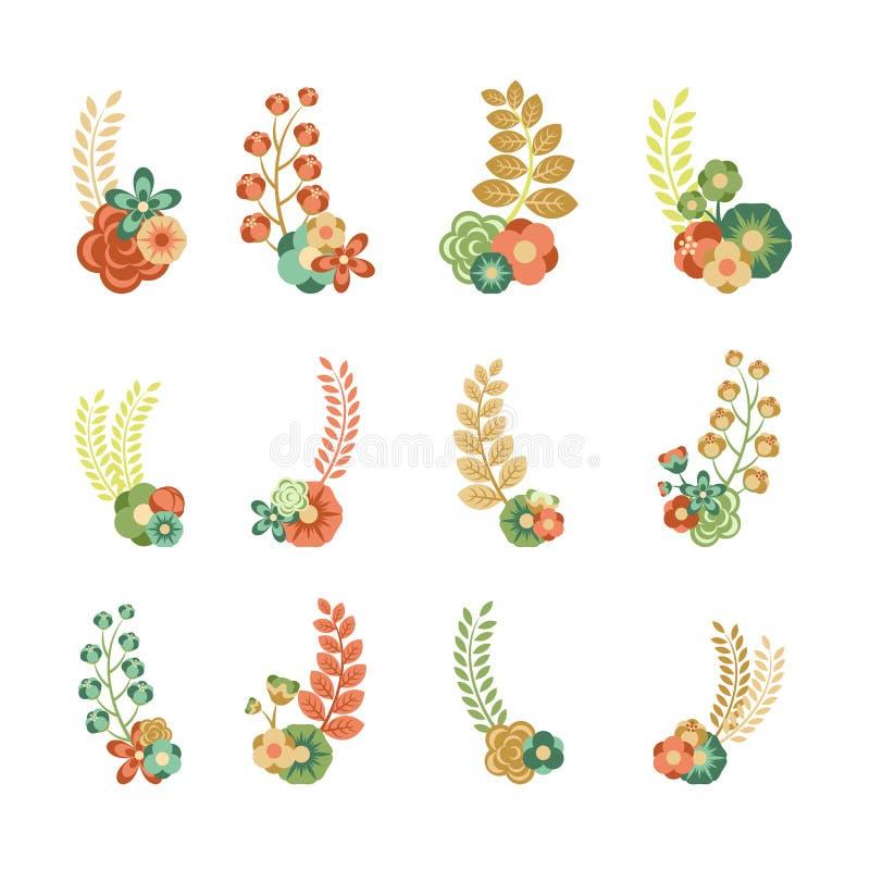 Elementos florais decorativos ilustração royalty free