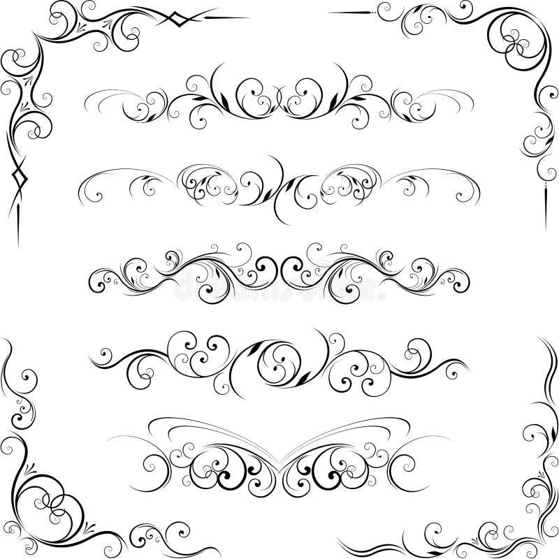 Elementos florais decorativos de roda dos flourishes ilustração stock