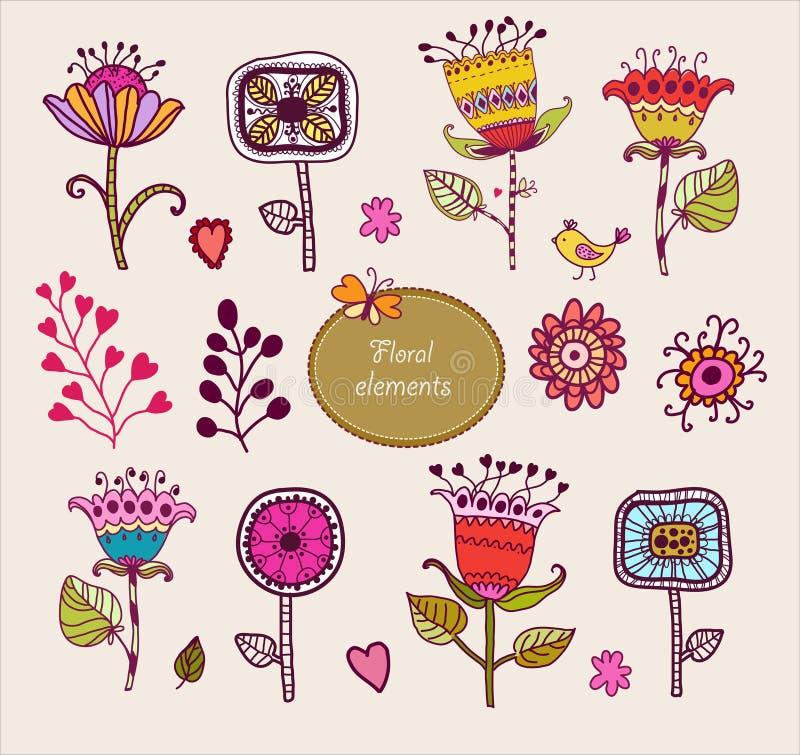Elementos florais desenhados mão. Grupo de flores. ilustração stock