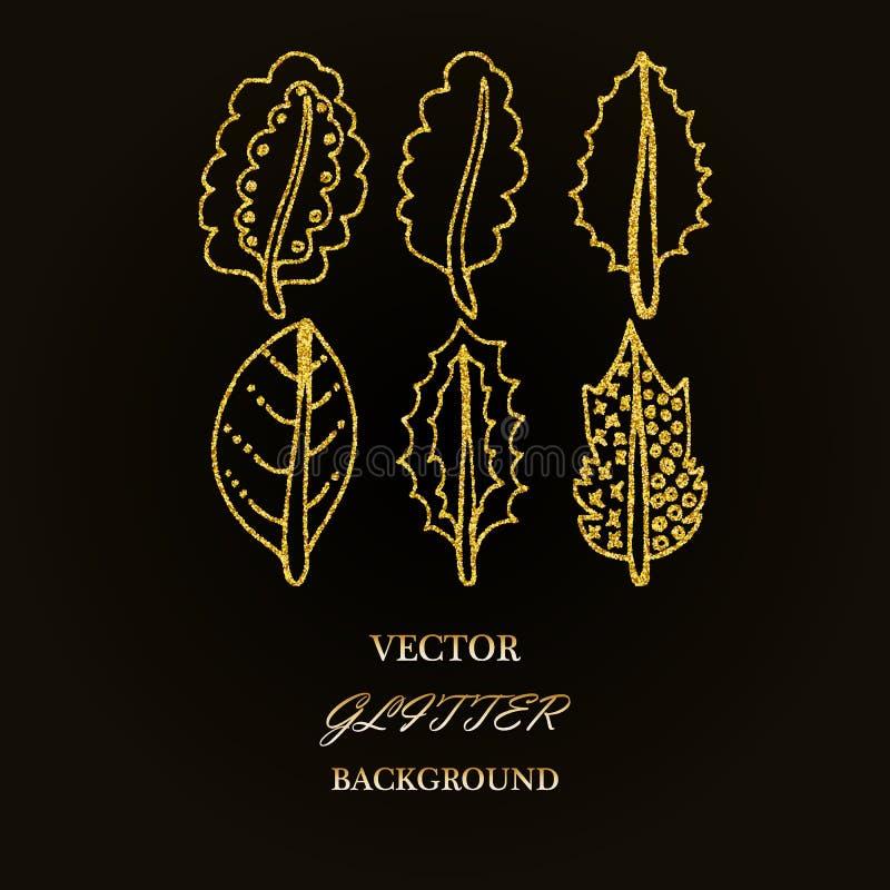 Elementos florais do brilho do ouro Bom para o convite do casamento, o fundo, o folheto ou o projeto de papel do envolvimento ilustração stock