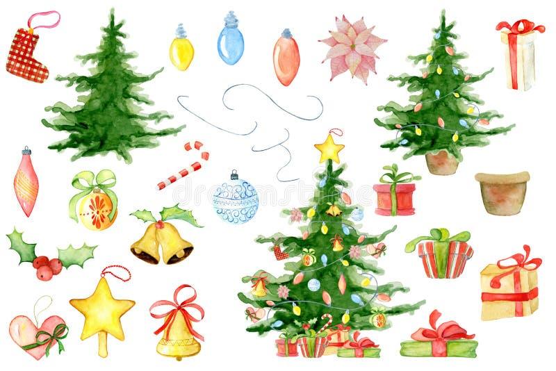 Elementos florais do inverno da aquarela do Feliz Natal Cartão do ano novo feliz, cartazes Flores, pinheiro, presentes e brinqued foto de stock royalty free