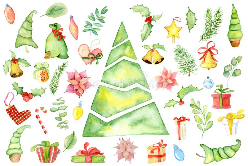 Elementos florais do inverno da aquarela do Feliz Natal Cartão do ano novo feliz, cartazes Flores, pinheiro, presentes e brinqued fotos de stock royalty free