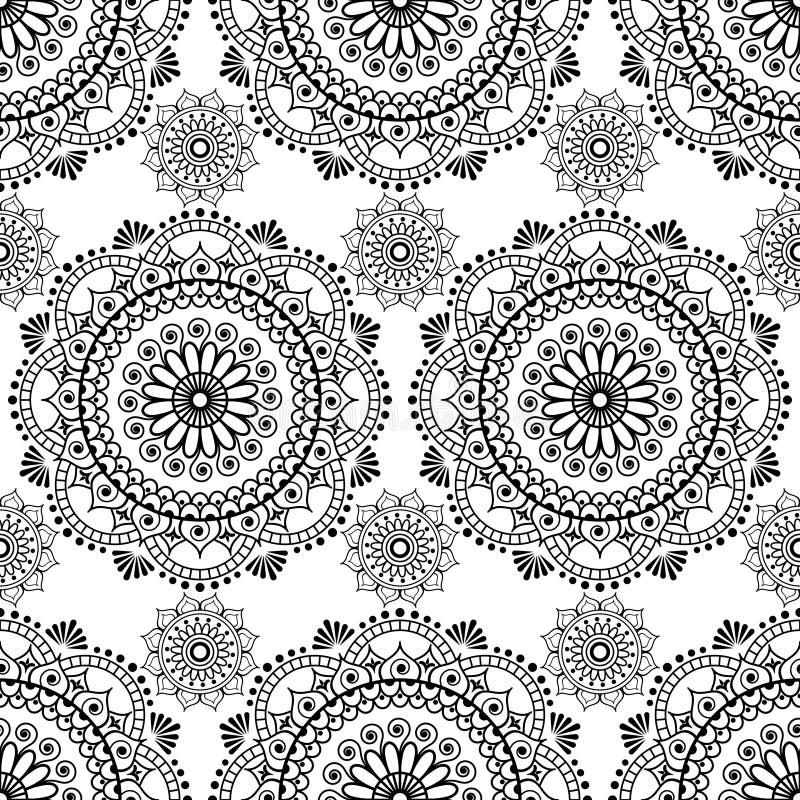 Elementos florais do laço do mehndi sem emenda da mandala do teste padrão da hena de artigos da decoração do buta no fundo branco ilustração stock