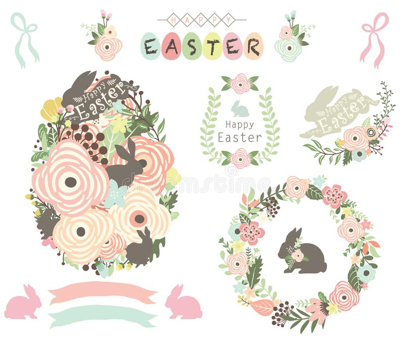 Elementos florais do ovo da páscoa ilustração royalty free
