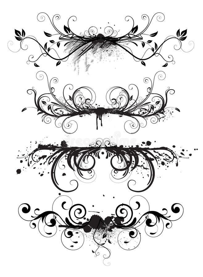 Elementos florais do projeto de Grunge ilustração stock