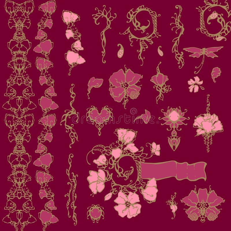 Elementos florais do projeto do vetor do ornamento ilustração do vetor