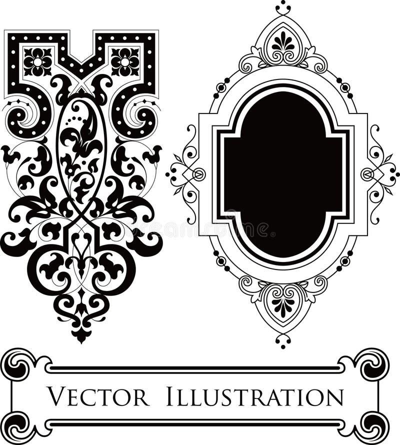 Elementos florais do projeto do vintage ilustração do vetor