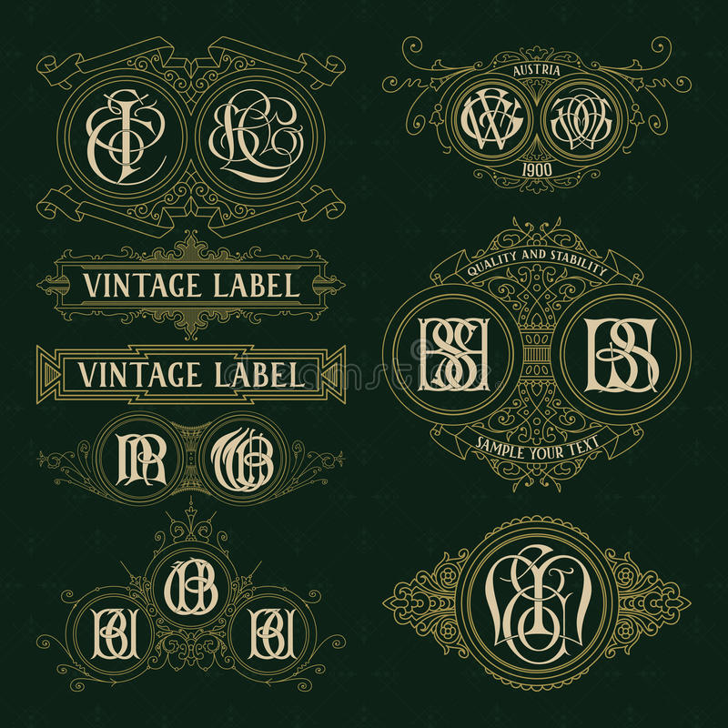 Elementos florais do vintage velho - fitas, monogramas, listras, linhas, ângulos, beira, quadro, etiqueta, logotipo ilustração do vetor