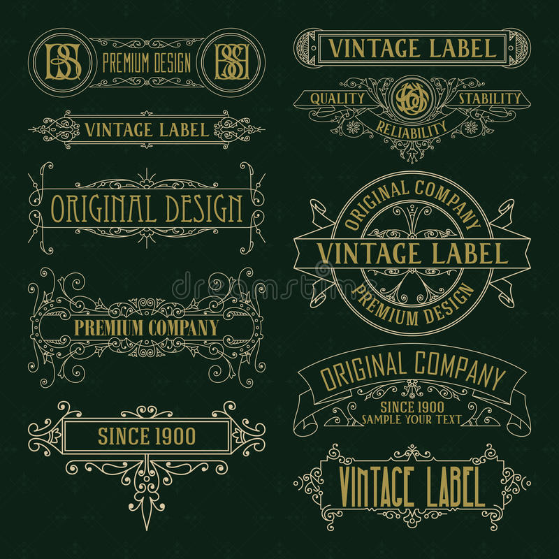 Elementos florais do vintage velho - fitas, monogramas, listras, linhas, ângulos, beira, quadro, etiqueta, logotipo ilustração royalty free