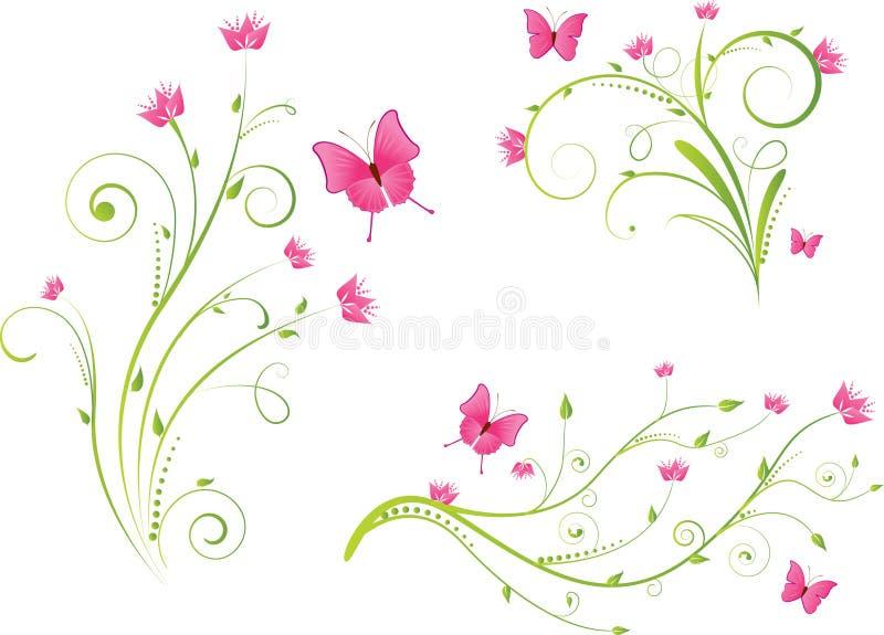 Elementos florais e borboletas ajustados ilustração do vetor