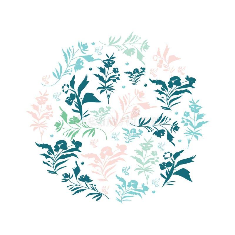 Elementos florais em cores pastel frescas isolados no fundo branco As flores bonitas podem ser usadas como a criação do cartão ilustração royalty free