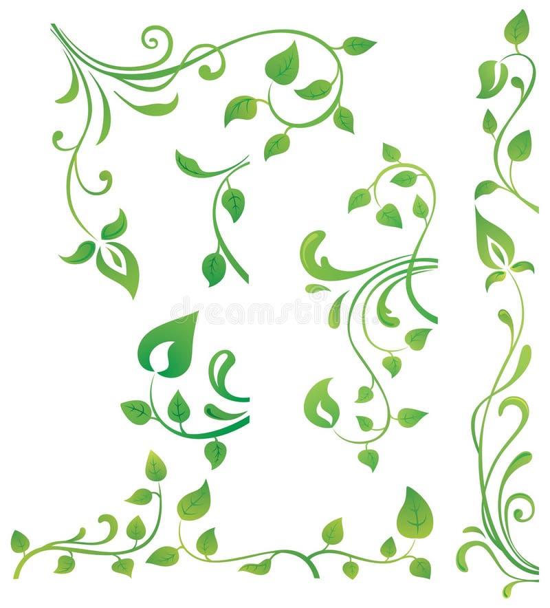 Elementos florais verdes imagens de stock