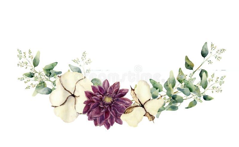 Elementos florales de la acuarela aislados en el fondo blanco El sistema del estilo del vintage con el eucalipto endeed ramifica  stock de ilustración