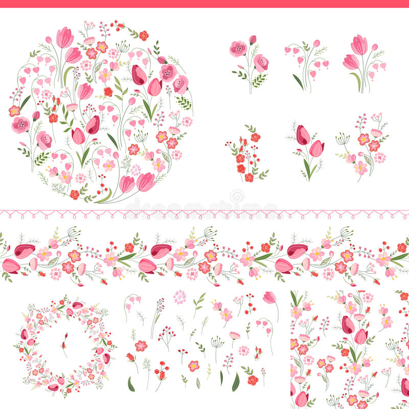 Elementos florales de la primavera con los manojos lindos de tulipanes y de rosas ilustración del vector