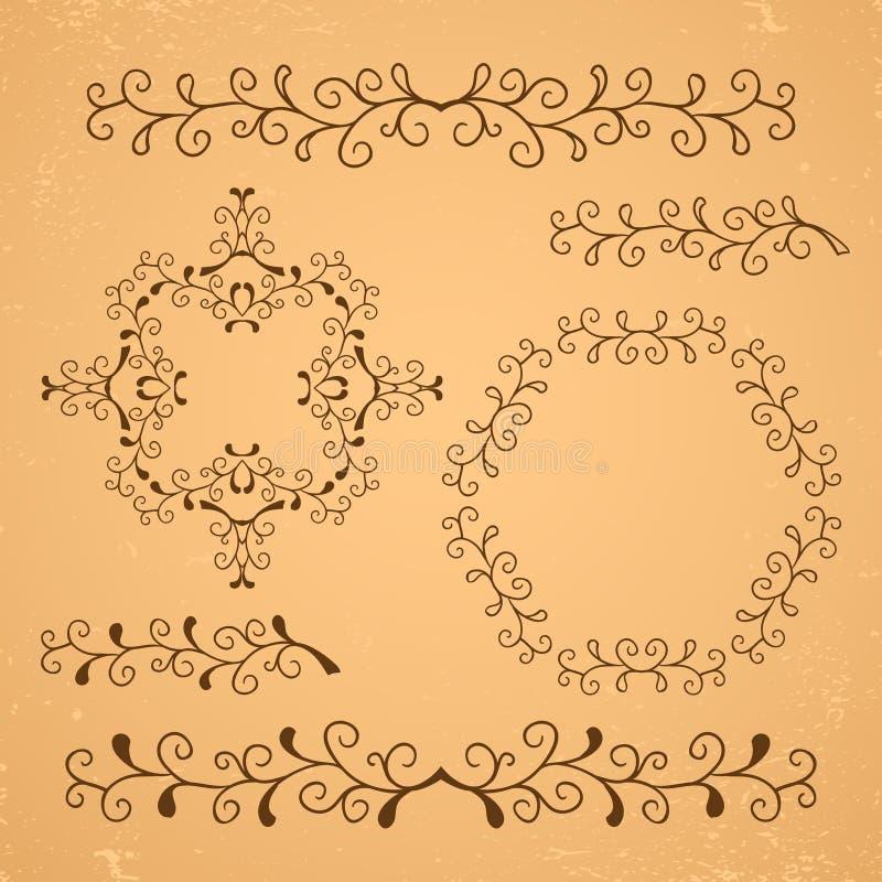 Elementos florales decorativos ilustración del vector