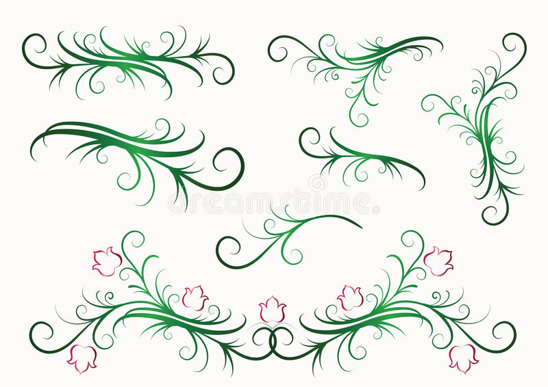 Elementos florales decorativos libre illustration