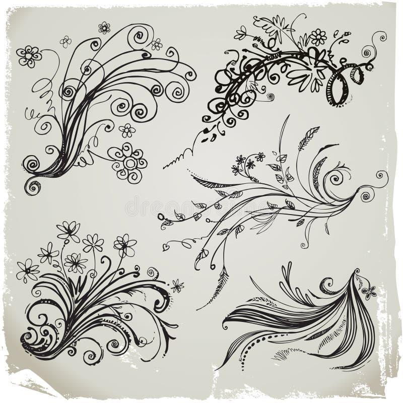 Elementos florales del drenaje de la mano stock de ilustración