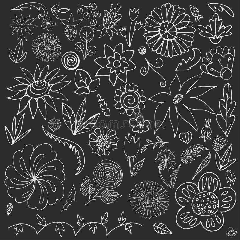 Elementos florales del garabato para el dise?o A mano Imagen del vector libre illustration