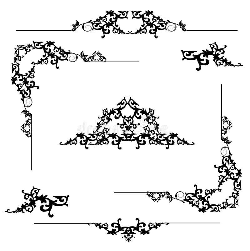 Elementos florales del marco ilustración del vector