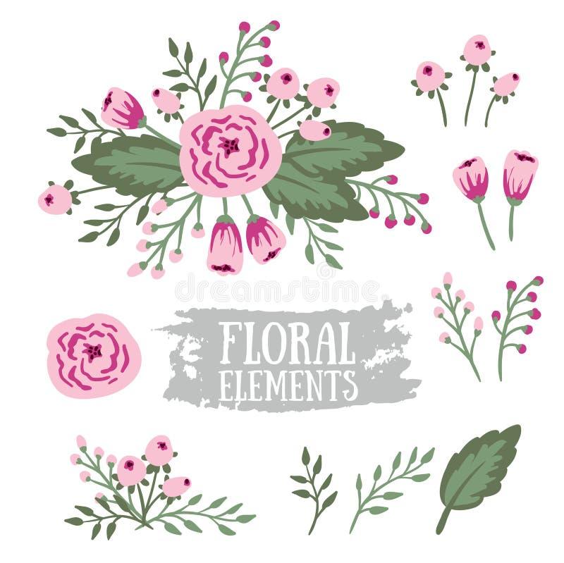 Elementos florales dibujados mano del vintage Conjunto de flores libre illustration