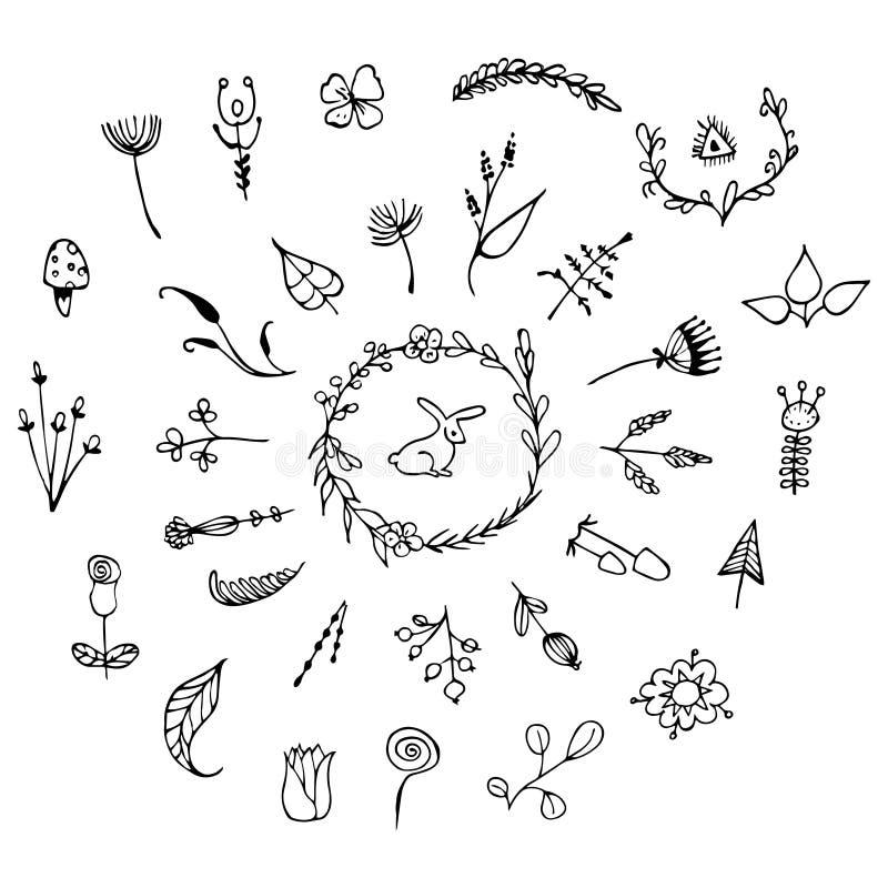 Elementos florales dibujados mano del vintage Sistema de flores, de flechas, de iconos y de elementos decorativos ilustración del vector