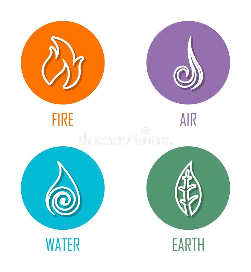 Elementos fogo do sumário quatro, ar, água, linha símbolos da terra colocados em círculos ilustração stock