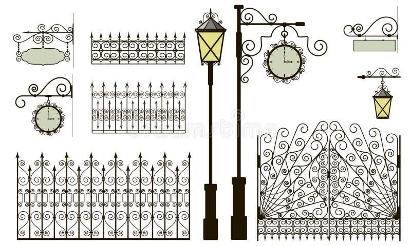 Elementos forjados stock de ilustración