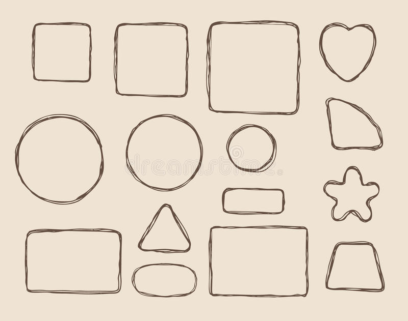 Elementos form dibujados mano stock de ilustración